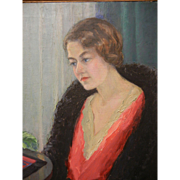 "Original Oil Painting by North West American Artist Myra Albert Wiggins ""Portrait of Mildred, My Daughter"""