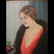 "Original Oil Painting by North West American Artist Myra Albert Wiggins ""Portrait of Mildred, My Daughter"""