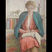 """Original Oil Painting by North West American Artist Myra Albert Wiggins """"Telephone Numbers"""""""