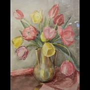 Original Watercolor Painting by North West American Artist Myra Albert Wiggins - Vase of Tulips