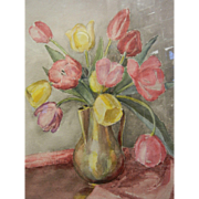 Original Watercolor Painting by North West American Artist Myra Albert Wiggins - Vase of Tulips