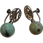 Vintage Chinese Silver Screw-Back Earrings w/ Natural Persian Turquoise Beads
