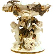 Antique Moore Brothers Porcelain Centerpiece w/ Cherubs & Roses