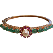 Fine 14K Gold Bracelet w/ Pearl, Rubies & Natural Emerald Cabochons