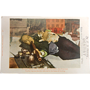 Vintage Postcard w/ Colored Picture - Chinese Opium Den