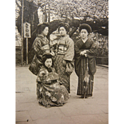 Vintage Original B&W Photograph of Japanese Geisha Girls - Cherry Blossom Time in Japan