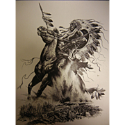Fabulous Metal Image of Native American Warrior on Horseback