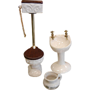 Vintage Porcelain Dollhouse Bathroom Fixtures - Toilet & Sink