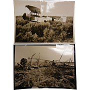 Vintage B&W Photographs - Plane Crash Before/After