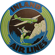 Set of 27 Vintage Advertising Stickers for Inland Airlines