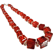 Fabulous Vibrant Red & Clear Glass Graduated Bead Necklace