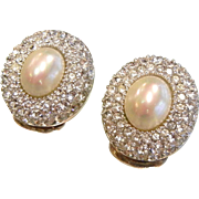 Rhinestone & Faux-Pearl Clip Earrings Signed Christian Dior