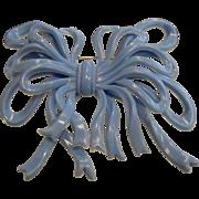 Vintage 1930's  Blue Plastic Ribbon Bow Brooch