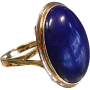 Signed 18K Gold Ring w/ Natural Lapis Lazuli Cabochon
