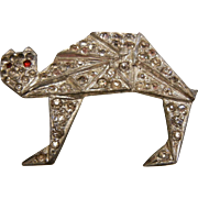 Vintage Art Deco Rhinestone Cat Brooch