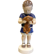 Vintage B&G Porcelain Figurine - Boy Holding Puppy