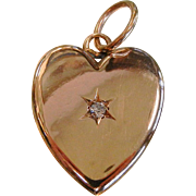Fine  Antique Diamond 14K Gold Heart Locket Pendant