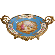Antique Ornate French Bleu Celeste Porcelain Sevres Style Gilt-Bronze Mounted Centerpiece Bowl