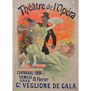 Framed Vintage French Carnival 1896 Gala Theatre de l'Opera