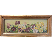 Vintage Oil Painting Signed AA. Swan '92 - Pansies