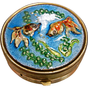 Vintage Underwater Koi Fish Enameled Pill Box