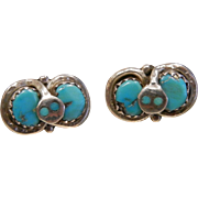 Signed Effie Calavaza Zuni Turquoise Sterling Silver Snake Stud Earrings