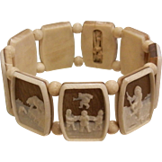 Vintage Eskimo Picture Panel Stretch Bracelet