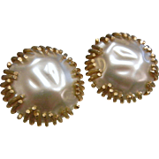 Huge Vintage Costume Jewelry Faux-Pearl Clip Earrings by Sarah Coventry