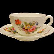 Fine Coalport England Porcelain Teacup & Saucer w/ Hand Painted Flowers