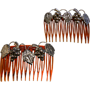 Pair of Vintage Hair Combs w/ Sterling Silver Grapes & Leaves