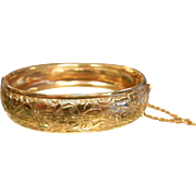 Fine Embossed Gold-Tone Hinged Cuff Bracelet w/ Floral Decor
