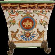 Vintage Elaborate Enameled Claw-Footed Porcelain Flower Planter Pot