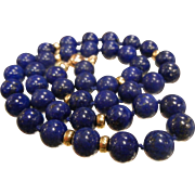 Gorgeous Gold & Natural Lapis Lazuli Bead Necklace