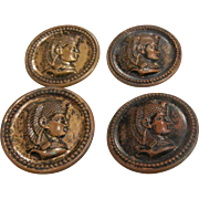 Set of Four Vintage Egyptian Revival Metal  Buttons