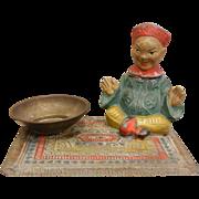 Vintage Austrian Metal Figurine Happy China Man Sitting on a Rug