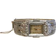Vintage ELGIN Silver-Tone Filigree Watch Bracelet