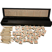 Vintage Chinese Bamboo Mahjong Game Set