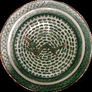 Vintage Chinese Enameled Porcelain Plate - Green Dragon Motif