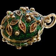 Enameled Egg Pendant w/ Frog Inside