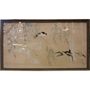 Vintage Chinese Hand Embroidered Silk Picture - Swallows on Branches