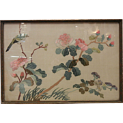 Vintage  Chinese Hand Embroidered Silk Picture - Bird & Flowers