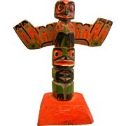 Vintage Hand Carved & Painted Natural Wood Totem From Victoria Canada