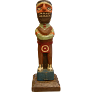 Vintage Hand Carved & Painted Natural Wood Totem Figure