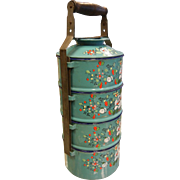 Vintage Chinese  Enameled Metal Multi Stacking Lunch Pail - Turquoise w/ Floral Decor