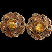 Vintage Art Nouveau-Style Clip Earrings w/ Citrine Glass