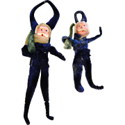Vintage 1920's Blue Pipe Cleaner Santa Christmas Ornament Set