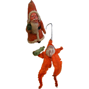 Vintage 1920's Pipe Cleaner Santa Christmas Ornaments