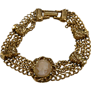 Vintage GOLDETTE Signed Faux-Cameo Bracelet