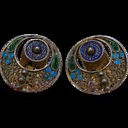 Vintage Enameled 800 Silver Clip Earrings