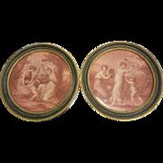 Antique Pair Of  Framed Prints - Goddesses & Cherubs